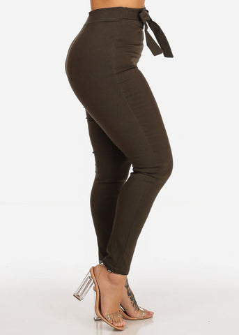 Olive High Rise Skinny Pants