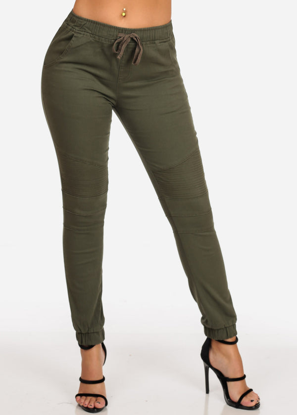 Olive Moto Style Joggers Pants