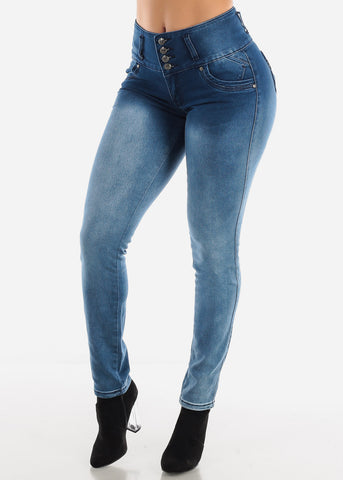 Blue Light Wash Stretchy Skinny Jeans