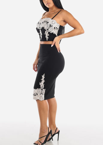 Black Crop Top & Skirt (2 PCE SET)