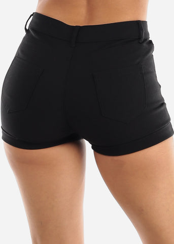 Image of High Waisted Solid Black Shorts