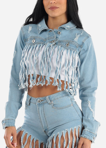 Fringe Distressed Cropped Denim Jacket