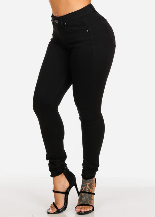 Black Butt Lifting High Rise Skinny Jeans