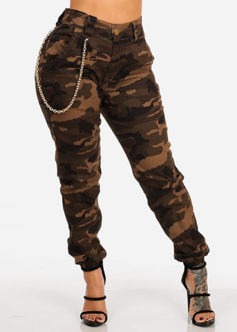 Image of High Rise Brown Camo Print Jogger Pants W Gold Chain