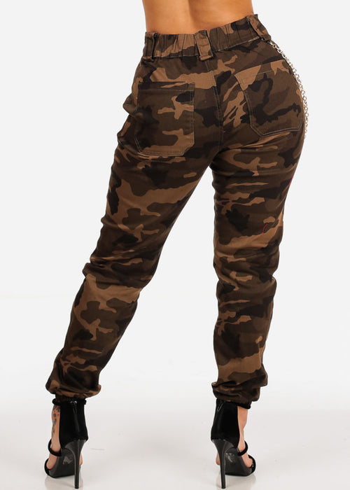 Brown Camo Print Jogger Pants W Gold Chain