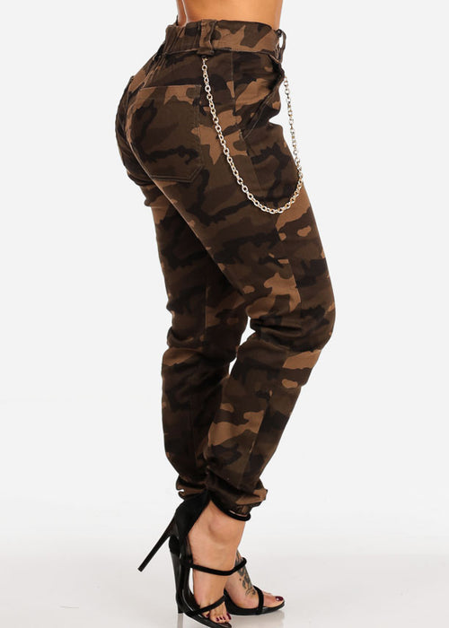 High Rise Brown Camo Print Jogger Pants W Gold Chain