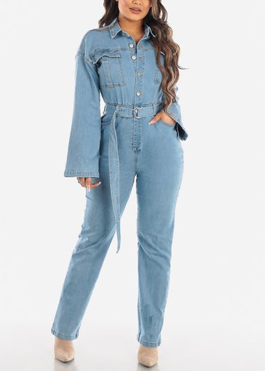 Light Wash Wide Legged Denim Jumpsuit