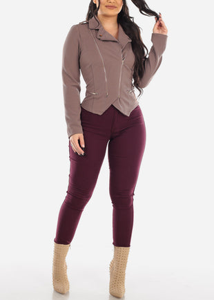 High Rise Dark Burgundy Jegging Skinny Pants