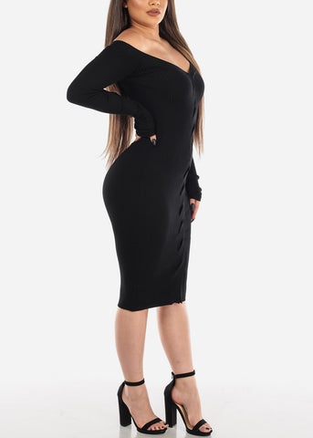 Image of Long Sleeve Dress Twist Front Black