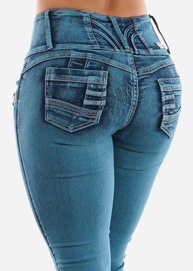 Blue Straight Leg Butt Lift Jeans