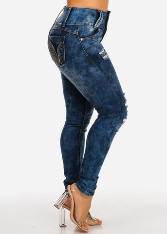 Butt Lifting High Waisted Distressed Skinny Jeans