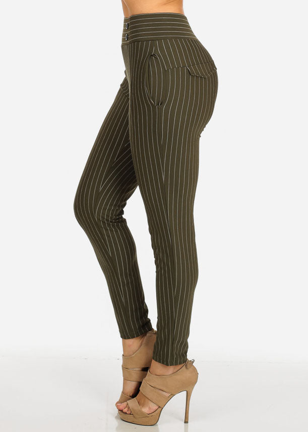 High Rise Olive Pinstripe Stretchy Skinny Pants