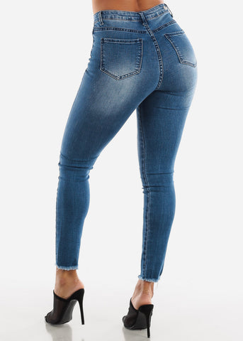 Ripped Med Wash Denim Skinny Jeans