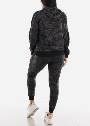Image of Heather Black Hoodie & Jogger Set