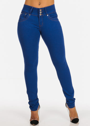 Light Wash Mid Rise Butt Lifting Push Up Levanta Cola Skinny Denim Jeans