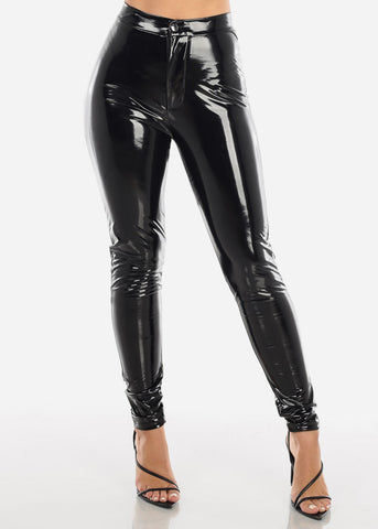 Image of Glossy Pleather Black Pants