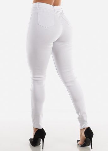 Image of Torn Butt Lifting White Skinny Jeans