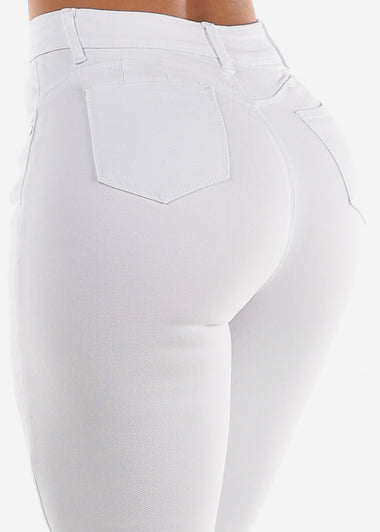 Torn Butt Lifting White Skinny Jeans