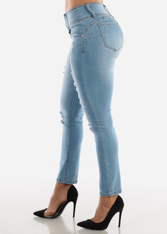 Image of Light Blue Ripped Butt Lift Jeans