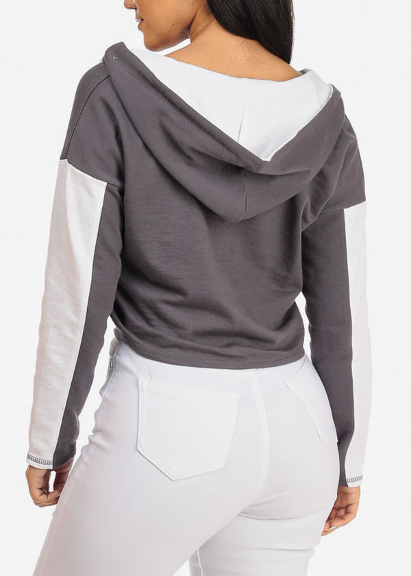 Dark Grey Cropped Pullover Sweatshirt