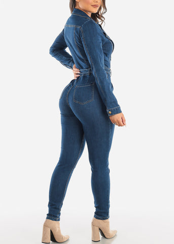 Image of Long Sleeve Belted Denim Jumpsuit