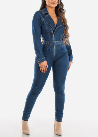 Long Sleeve Belted Denim Jumpsuit