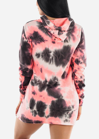Image of Neon Pink Tie Dye Dress