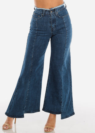 High Rise Raw Waist Wide Leg Jeans