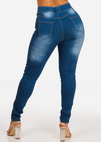 Blue High Waisted Distressed Skinny Denim Jeans