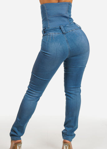 Butt Lifting Light Wash Ultra High Waist Jeans