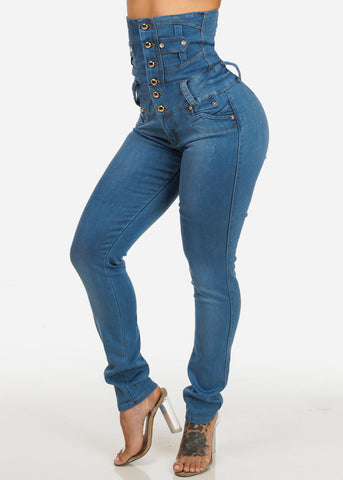 Image of Butt Lifting Light Wash Ultra High Waist Jeans
