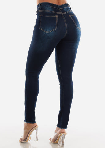 Image of Ripped Dark Wash Denim Skinny Jeans