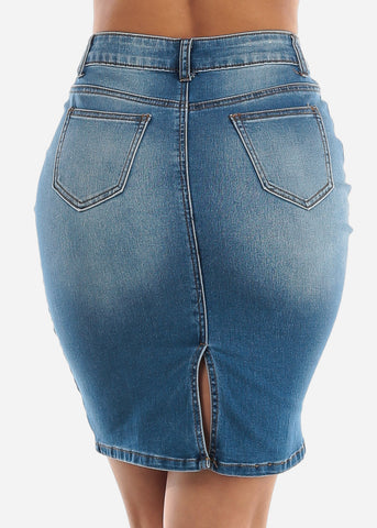 Image of Med Wash Denim Mini Skirt