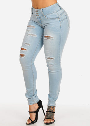 Butt Lifting Mid Rise Distressed Skinny Jeans