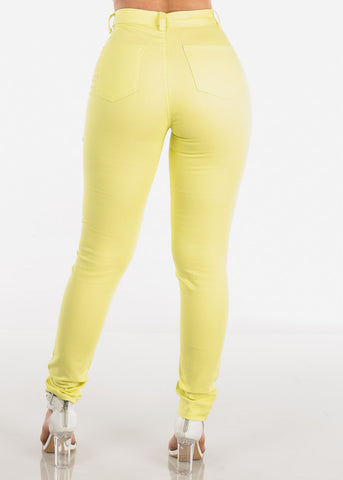 Image of High Rise Yellow Skinny Jeans