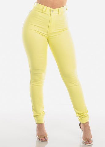 High Waisted Super Stretchy 1 Button Closure Solid Yellow Skinny Jeans For Women Ladies Junior 2019 New