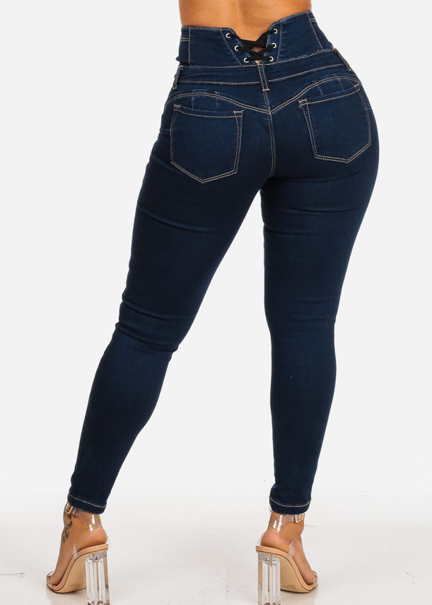 Butt Lifting Back Lace Up Medium Dark Skinny Jeans