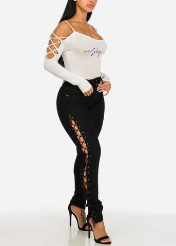 PLUS SIZE Levanta Cola Lace Up Sides Black Skinny Jeans