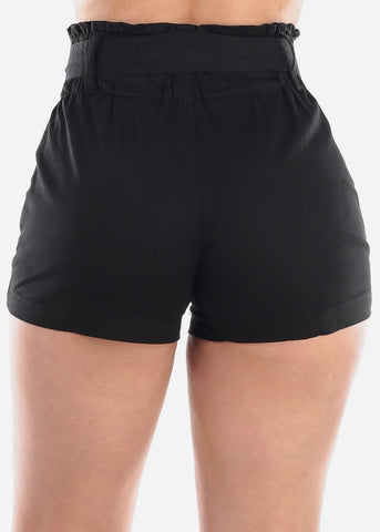 Women's Junior Ladies High Waisted Paperbag Solid Black Stretchy Shorts For Summer Vacation Beach 2019 New
