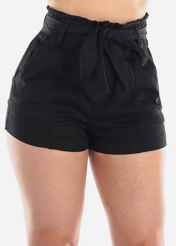 Image of Women's Junior Ladies High Waisted Paperbag Solid Black Stretchy Shorts For Summer Vacation Beach 2019 New