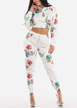 White Floral Hoodie & Jogger Pants (2 PCE SET)
