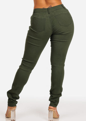 Image of Olive Butt Lifting Skinny Jeans