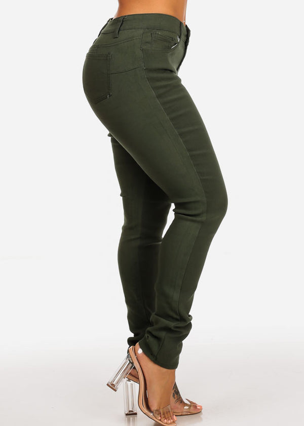 Olive Butt Lifting Skinny Jeans