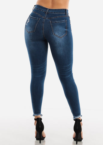 High Waisted Dark Wash Torn Skinny Jeans