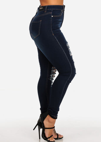 Ultra High Waisted Distressed Skinny Jeans