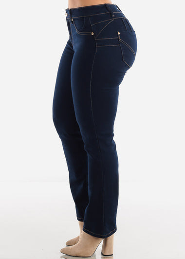 Dark Navy Butt Lifting Straight Leg Jeans