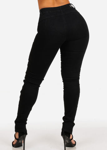 Front Lace Up Levanta Cola Black Skinny Jeans