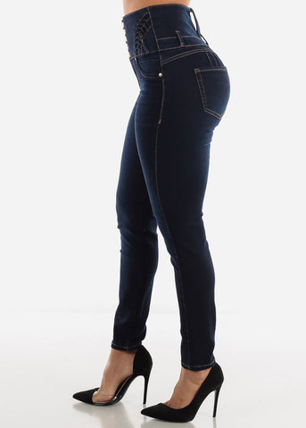 Image of Ultra High Rise Butt Lifting Dark Skinny Jeans