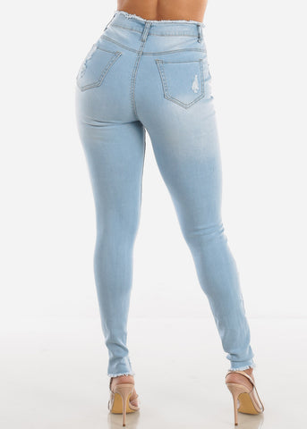 Image of Ultra High Rise Torn Light Skinny Jeans