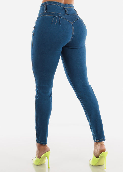 High Rise Blue Wash Butt Lifting Skinny Jeans